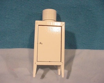 OLD Doll House Furnishings With Old-fashioned Compressor Topped Refrigerator, wooden