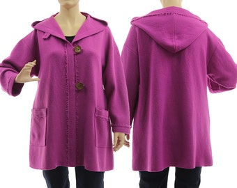 Boho hooded jacket, hooded coat from merino boiled wool in purple pink, purple merino hoodie / lagenlook plus size women L-XL, US size 16-20