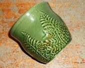Vintage Planter, Green, Leaf Pattern,  Pottery, Green Planter Pot, Fern Leaf, Flower Pot