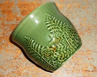 Vintage Planter, Green, Leaf Pattern,  Pottery, Green Planter Pot, Fern Leaf