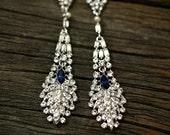 Blue Sapphire Bridal Earrings, Wedding Jewelry, Swarovski Earrings, Chandelier Earrings, Something Blue - Giulia