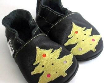 soft sole baby shoes infant kids children christmas tree olive black 12-18 m garcon cuir chaussons Krabbelschuhe porter ebooba TR-6-B-M-3