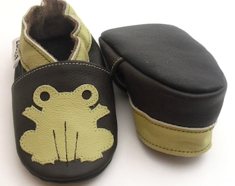 soft sole baby shoes leather girl boy gift frog  12-18m ebooba FR-4-DB-M-3