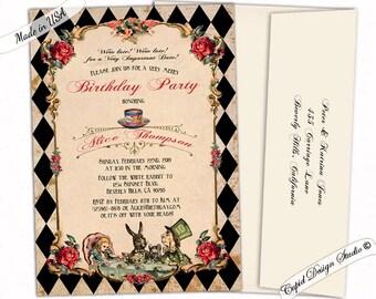 Alice in Wonderland birthday invitations for girls. Mad hatter tea party birthday invitations for teens. Wonderland birthday invites.