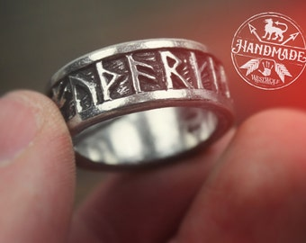 Viking Rune Ring - US Sizes 9-13 in Sterling Silver or Pewter --- Norse/Norway/Iceland/Scandinavian/Medieval/Nordic/Runic/Band