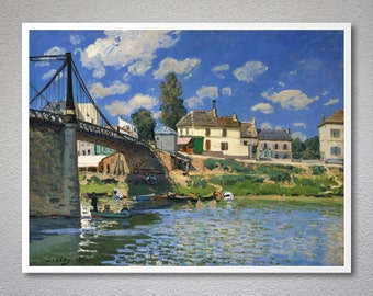 The Bridge at Villeneuve-La-Garenne by Alfred Sisley - Poster Paper, Sticker or Canvas Print / Gift Idea