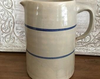 Blue Stripe Stoneware Pitcher, Milk Jug