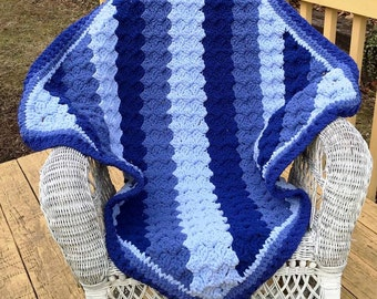 Crochet Baby Boy Blue Blanket Nursery Afghan in Shades of Blue