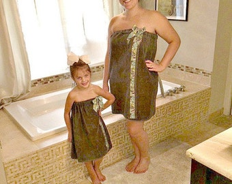 Spa Wraps - Mommy and Me Outfits - Personalized Gift - Towel Wrap - Mommy and Me - Spa Wrap - Bath Towel Wrap - Personalized Gift
