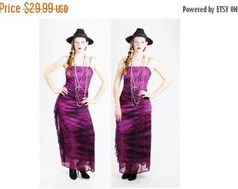 SUMMER SALE 35% OFF 1990s Sheer Purple Tie Dye Glitter Gypsy Maxi Dress