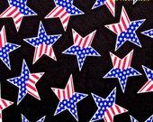 "Nylon Spandex Lycra PRINT 60"" 4 Way Stretch Fabric *Costume *Swimwear*Dancewear~American FLAG STARS on Black"