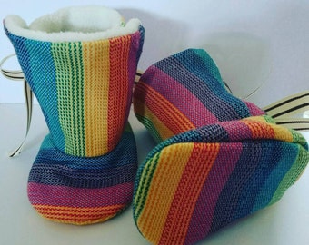 Rainbow, Ribbon Tie, Booties, Light or Dark, Lenny Lamb, Wrap Scrap, Baby Boots, Made to Order, Babywearing Shoes, Carrier Footwear
