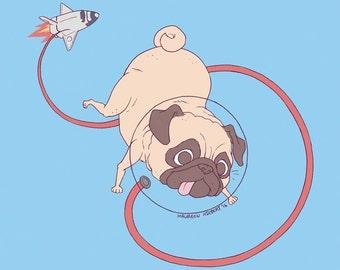 Space Pug Print - M