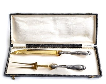 SALE Antique Italian Silver 800 Handled Carving Set Boxed , Vintage Large Knife and fork Set, Antique Silver 800 Tableware