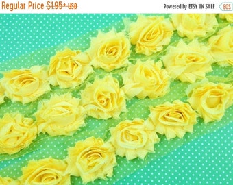 "July Sale 12% OFF 1.5"" PETITE  Shabby Rose Trim -  Yellow Color- Chiffon Flower - Shabby TRim - Hair Accessories Supplies"