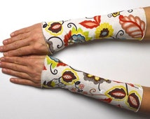 Arm warmers light hand warmer for summer retro flowers jersey coton linen