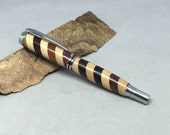 Unique Rollerball Pen made from five different woods, chromehardware