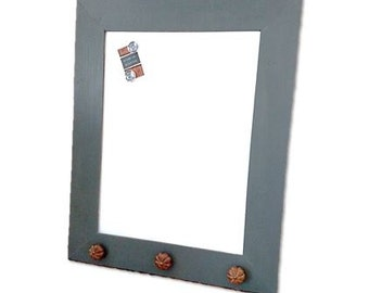 Gray Marker Board - White Board - Dry Erase Board - Magnetic - Handmade Frame - Distressed Hippo Grey - 23x29 Overall