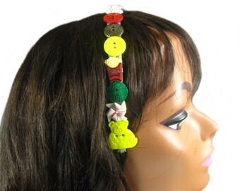 Girls Headband, Teen Hard Headband, Multicolor Rainbow Headband, Hairband, Girls Hair Accessories
