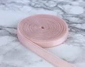 """3 Yards Pale Pink 3/8"""" Satin Faced Plush Back Strap Elastic 9mm Bramaking Supplies Bra Making Lingerie Sewing"""