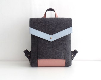 Felt Genuine Leather Backpack Gray Pink Blue