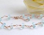 Blue Topaz Bracelet, Rose Gold, Handmade, Wire Wrapped, Pink Gold,  Blue Gemstone