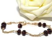 Garnet Bracelet, Red Gemstone, Wire Wrapped, Gold Garnet Bracelet, January Birthstone, Red Garnet, Happy Cats Designs