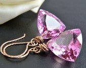 Pink Topaz Earrings, Rose Gold Jewelry, Handmade, Luxe Earrings, Topaz Dangle, Happy Cats Designs