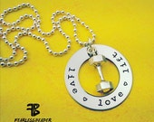 Live Love Lift Necklace, Valentines Day Gift, Hex Dumbbell, Weightlifting, Bodybuilder, Fitness Necklace, Fitness Motivation, Gym Motivation
