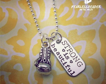 Strong is Beautiful Necklace, Boxing Necklace, MMA Jewelry, Muay Thai, Boxing Glove, Fitness Necklace, Athlete Jewelry, Valentines Day Gift