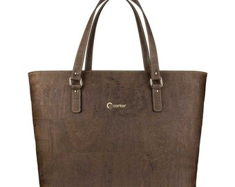Laptop Tote Bag - Womens Shoulder Bag with Adjustable Long Strap - Vegan Handbag - Cork Tote Bag - Dark Brown (CK147)