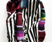 Oxblood Mexican Serape and Black ans White Stripe Knit Infinity Circle Scarf