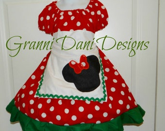 Minnie mouse Christmas Holiday peasant dress baby toddler girl 6 9 12 18 24 months 2t 3t 4t 5t red green polka dot disney holiday
