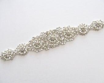 Rhinestone Applique / Bridal Applique /  Pearl and Rhinestone Beaded Applique / DIY bridal sash / (RA-38) Iron on