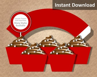 Solid Crimson Red Cupcake Wrapper Instant Download, Party Decorations