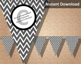 Charcoal Gray Chevron Bunting Pennant Banner Instant Download, Party Decorations