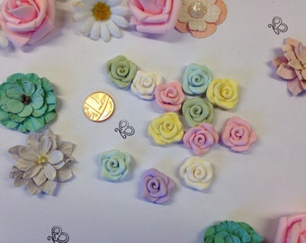Flatback small rose roses embellishments deco pack of 6