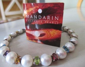 SALE Estate Vintage 925 Mandarin White Cultured Pearls with Genuine Multi-Stones Topaz, Amethyst, Citrine, Peridot Garnet, Mother's Day Gift