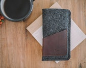 """iPhone Pouch, iPhone Case, iPhone Sleeve, """"Geometry"""", leather, wool felt, universal size"""