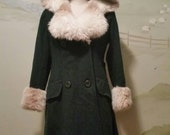 70s Forest Green Princess Coat With Hood Faux Fur Lapels And Cuffs Small