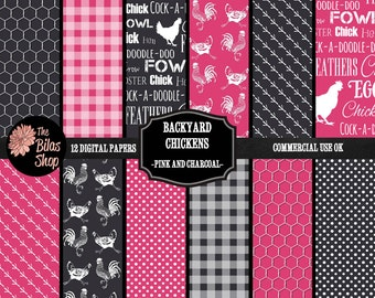 Backyard Chickens Digital Scrapbooking Paper Pack, Bright Pink Charcoal Grey, Rooster Hen Chicken Wire Farm Animals Country Design