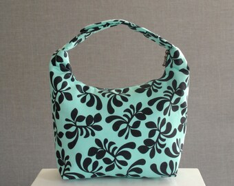 Lunch Bag Insulated, Women Lunch Bag, Chevron Lunch Bag,Fabric Lunch Bag, Eco Friendly Lunch Tote, Aqua Fancy Frond by Melissa Ybarra