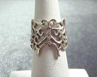 Sterling Silver Filigree Butterfly Ring Sz 5 3/4 R225