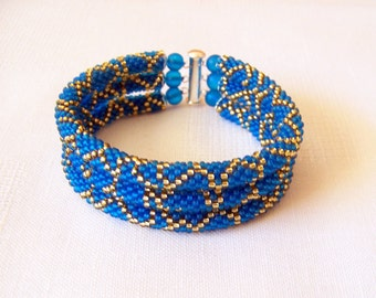 3 Strand Bead Crochet Rope Bracelet in blue and gold - beaded jewelry - Beadwork bracelet - seed beads bracelet - modern bracelet