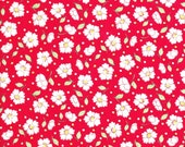 Red Fabric - Lecien Retro 30s - Lecien Fabric - Red Floral Fabric