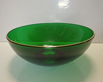 Fenton Glass - Emerald Glo - Large Round Serving Salad Bowl with Gold Trim