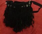 Hip fringe purse, black ultrasuede
