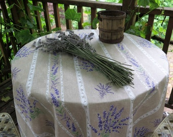 "round tablecloth.50 to 60 ""diameter . Provencal Cotton coated fabric from Provence, France. Bouquet de Lavande in grey"
