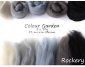 Black/grey Merino Shade sets - 21 micron Merino wool - 100g - 3.5oz - 5 x 20g - Colour Garden- ROCKERY