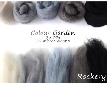 Black/grey Merino Shade sets - 21 micron Merino wool - 100g - 3.5oz - 5 x 20g - Colour Garden- ROCKERY